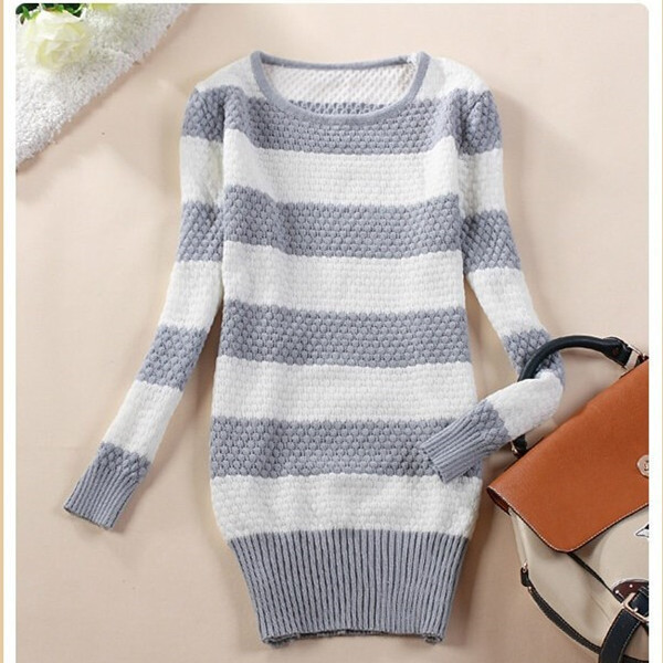 2014 O-Neck Knitted Sweaters Lady Long Sleeve Stripe Sweater Pullovers Brand Women Colorful Cotton - good luck 777 store
