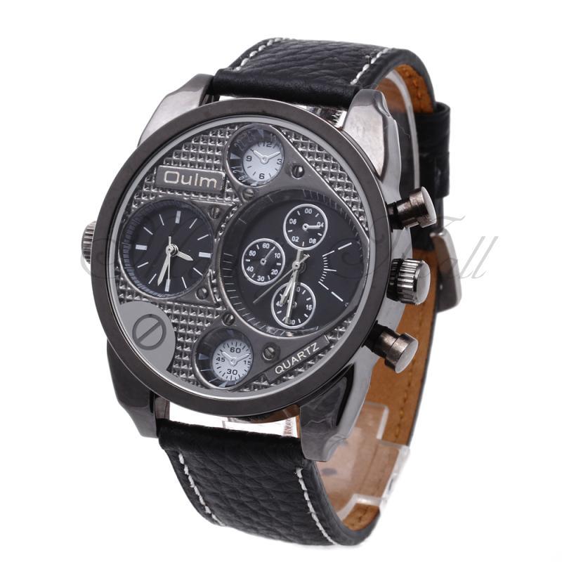 Oulm Multi-Function Dual Time Zone Dial Sport Mens Leather Quartz Wrist Watch<br><br>Aliexpress