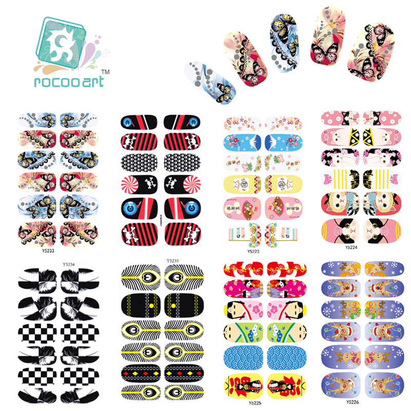 Y5220-5235 Manicure Foil Decor Decal Adhesive Nail Art Stickers HD Colorful Butterfly Chess Christmas Design Nail Wrap Sticker(China (Mainland))