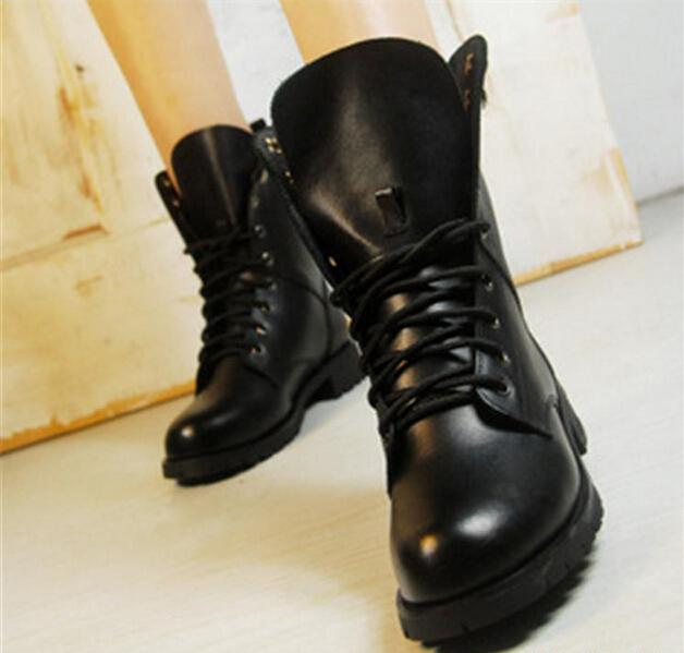 Women Boots British Style Classic Women Motorcycle Martin Boots Punk Bandage Autumn Waterproof Shoes Black Shoes A-8(China (Mainland))