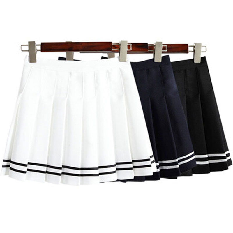 2016 AA Style Sexy Mini High Waist Pleated Skirts Cute Short Student Girls Solid Tennis Skirts Cosplay School Uniform Skirt(China (Mainland))