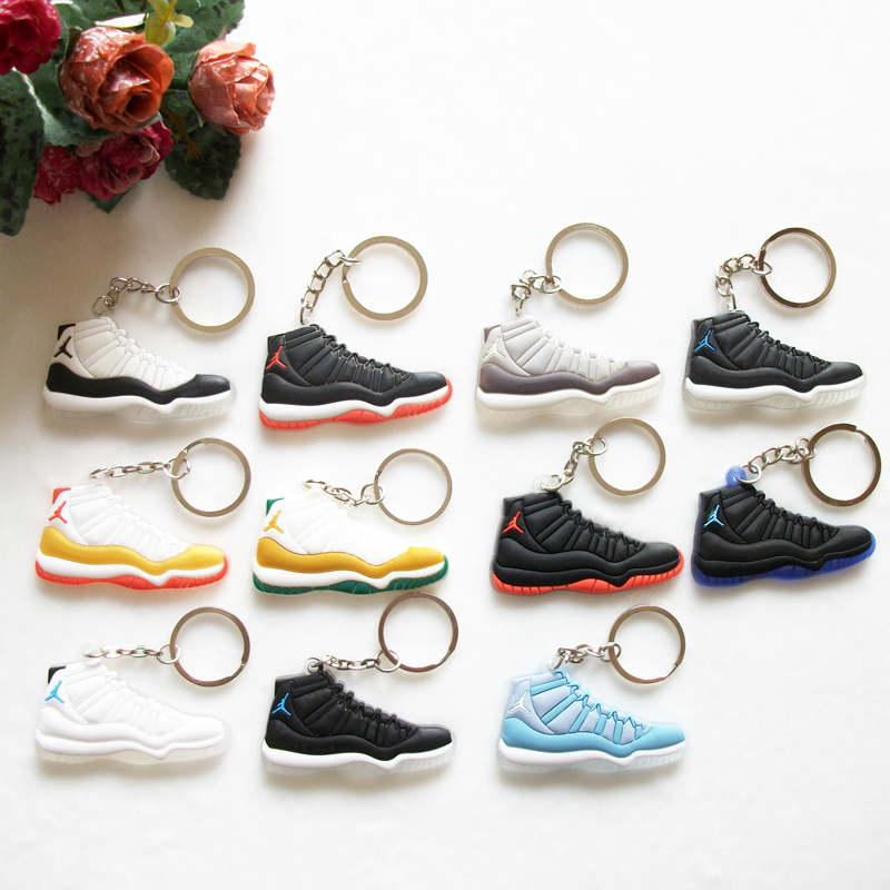 17 Color Mini Silicone Jordan 11 Keychain Bag Charm Woman Men Kids Key Ring Gifts Sneaker Key Holder Accessories Shoes Key Chain(China (Mainland))