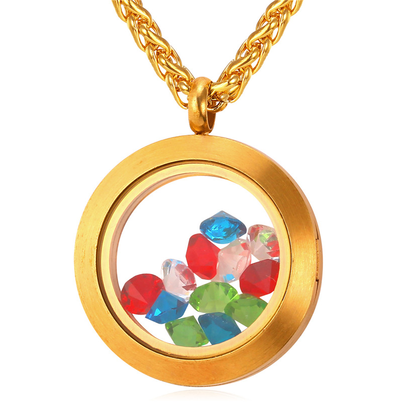Memory Photo Locket Necklace Women Never Fade Stainless Steel/ Gold Plated Chain Crystal Round Pendant Gift 2016 GP1723(China (Mainland))