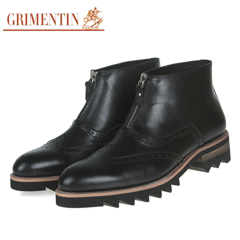 2015 Unique designer fashion antiskid mens ankle boots genuine leather men outdoor shoes Italian luxury business man boot zb48(China (Mainland))