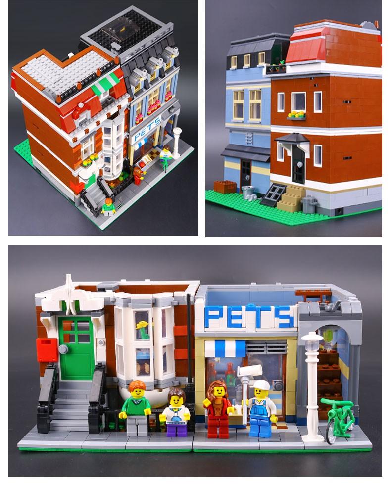 LEPIN 15009 Creator City Street Creator Pet Shop Model Building Kits Blocks  bricks Assembling toys compatible 10218