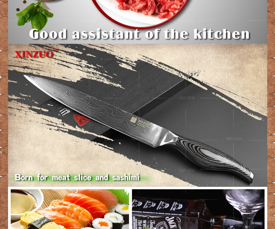 "Buy NEWEST 8"" inch cleaver knives 73 layers Japanese VG10 Damascus steel slicing/Carving knife wooden and steel handle FREE SHIPPING cheap"