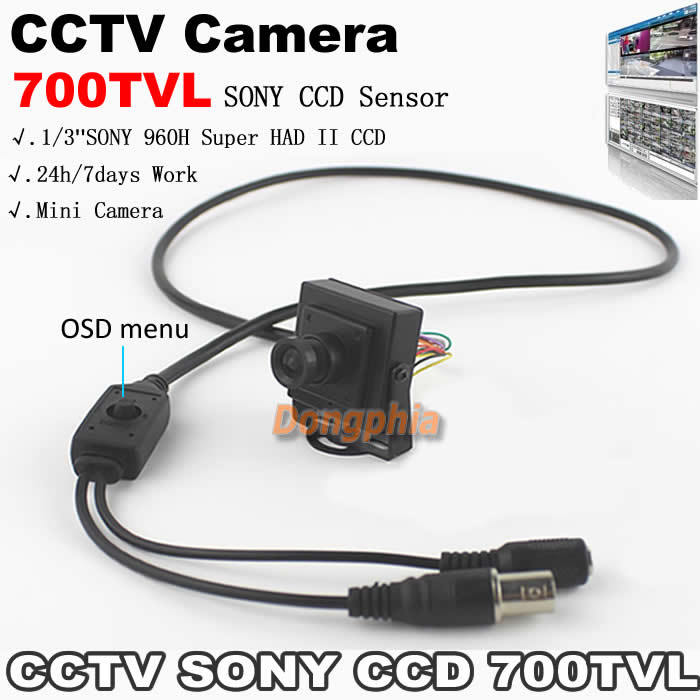 High Quality! 700TVL 1/3-inch SONY 960H Super HAD II CCD OSD Menu 24h/7days work Mini CCTV system security Camera free shipping(China (Mainland))