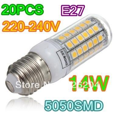 Free shipping 220V super bright LED Corn Light E27 E14 B22 14W 69LED 5050 SMD Warm White Pure White led Bulb Lamp 220V