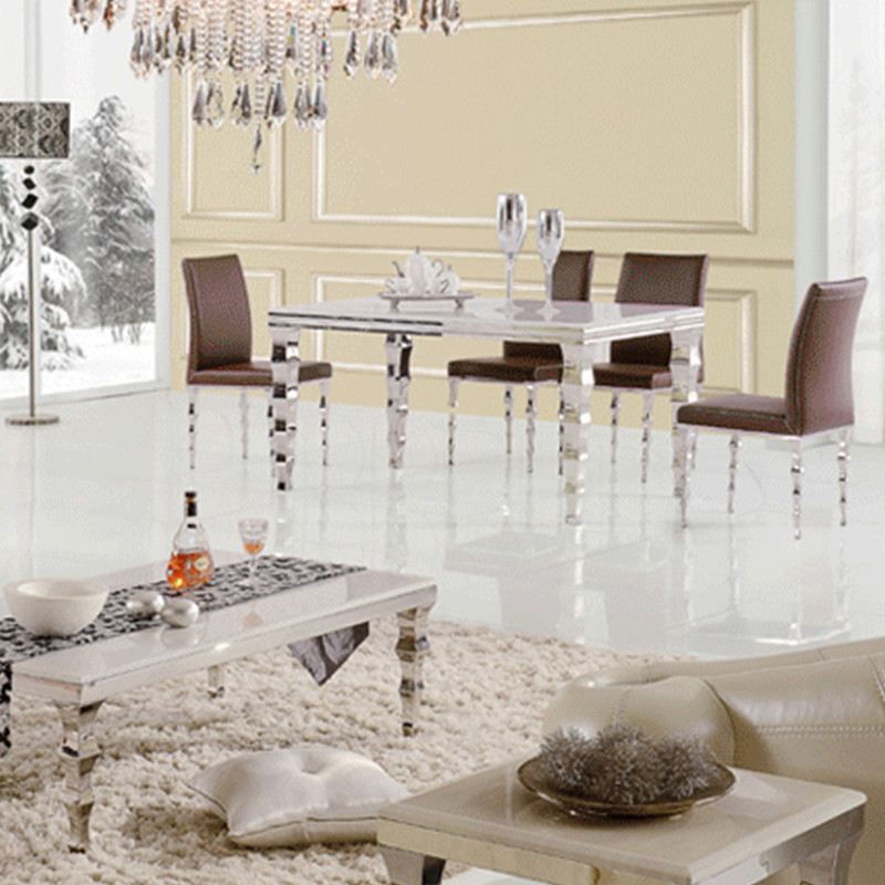 Hot sale table modern living room furniture stainless steel dining table send from China(China (Mainland))