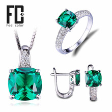 8.7ct Nano россии изумрудное кольцо серьги-подвески клип обручальное свадебный комплект стерлингового серебра 925 квадратных ювелирных украшений для женщин