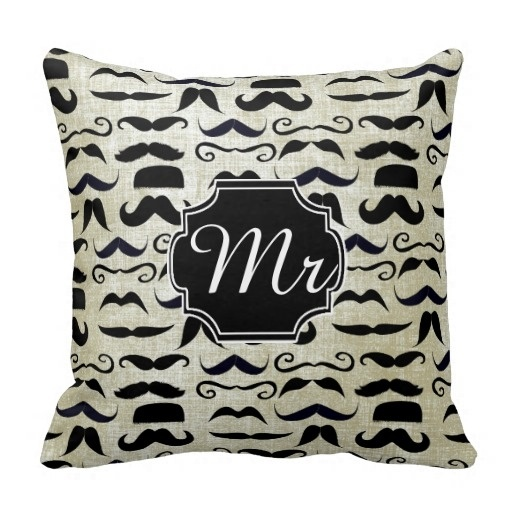Colorful Mr Moustache Hipster Pattern Throw Pillow Case (Size: 45x45cm) Free Shipping