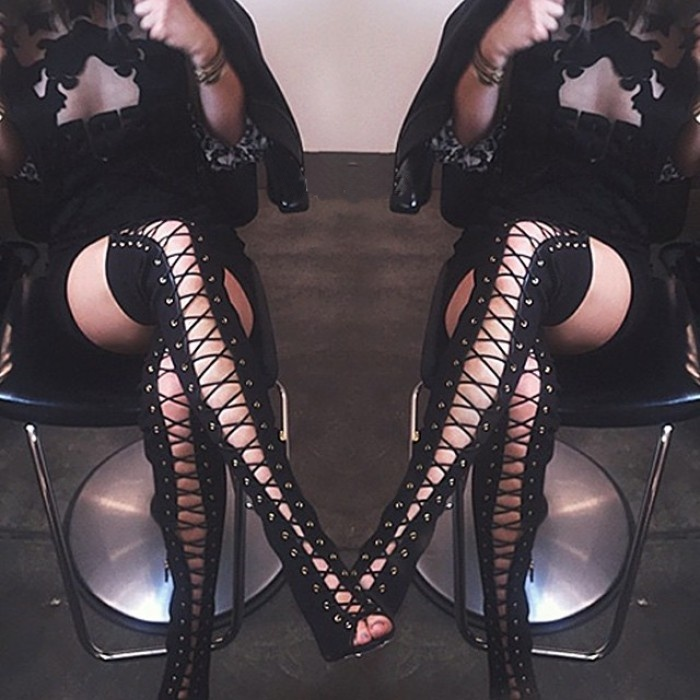 Multicolor Lady Thigh High Sexy Spring Autumn Fashion Boots Cut-outs Lace Up Gladiator Sandal Boots Shoes Over the knee Boots<br><br>Aliexpress