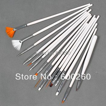 High Quality 15 pcs White Nail Art Brush Set Design Painting Nail Art Pen #8260