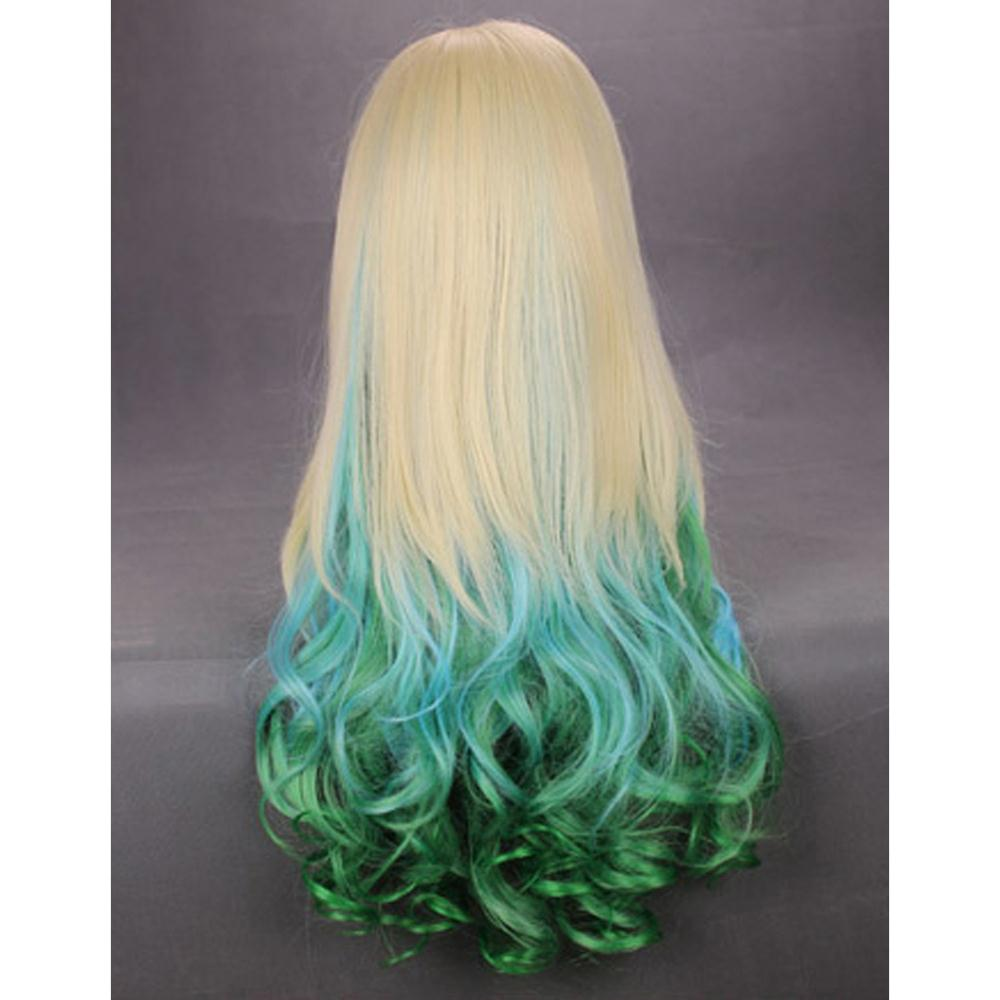 "Гаджет  New Queen! New Practical 24"" Wavy Multi - Color Lingt Blonde Blue Green Lolita Cosplay Wig None Изготовление под заказ"