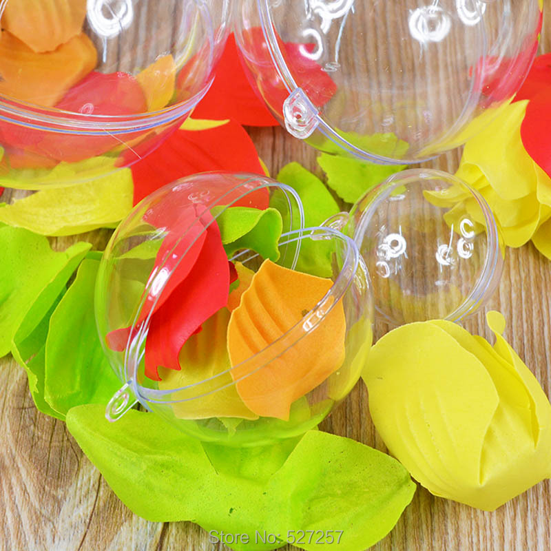 Transparent Plastic Ball Round Christmas Tree Craft Ornament Bauble Gift(China (Mainland))