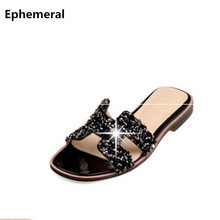 Buy Ladies bling crystal rhinestone flip flops summer slippers women slides sandals 2017 high casual shoes plus size 48 47 for $27.00 in AliExpress store