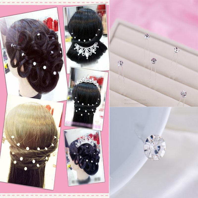 Hot 20 Pcs Women Girls Fashion Pretty Shiny Wedding Jewelry Bride Bridesmaid Rhinestone Hair Twists Hair Plate(China (Mainland))