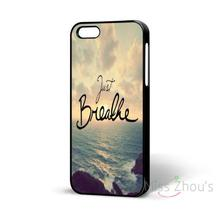 For iphone 4/4s 5/5s 5c SE 6/6s 7 plus ipod touch 4/5/6 back mobile cellphone cases cover Just Breathe Cute Girly Famous Quote