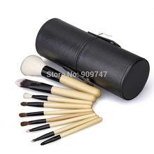 Professional 9 PCS Cosmetics Makeup Brushes Set with Black tube natural goat hair Make Up Brushes tools