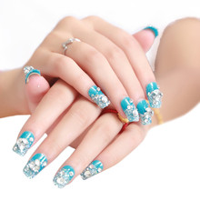 Selljimshop 1 Box 2Women Artificial Crystal Diamond Nail Art Stickers Bride Manicure Set Series Patch Blue s - ShenZhen jimshop store
