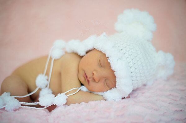White snow baby hat princess girl knit bonnet/Newborn cute hat for Newborn Photo pros(China (Mainland))