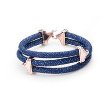 Rose gold stainless steel clasp Thailand 5mm black Mens Luxury 100% Genuine stingray leather bracelet men women - ziry jewelry Store store