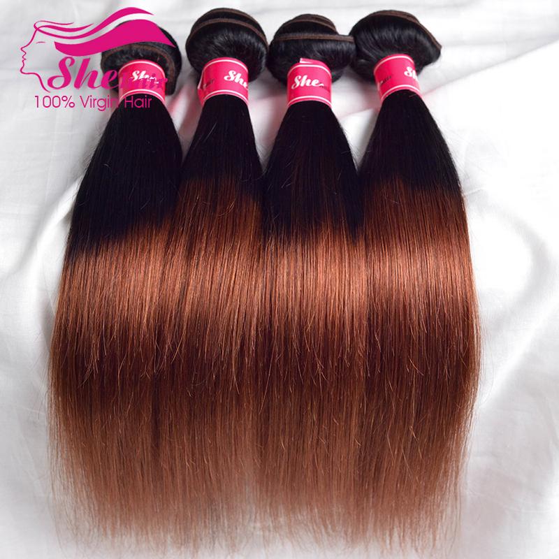 Rosa hair products Malaysian straight hair 1b/33# Ombre hair extensions 12-26 malaysian straight ombre human Hair weave no mix<br><br>Aliexpress