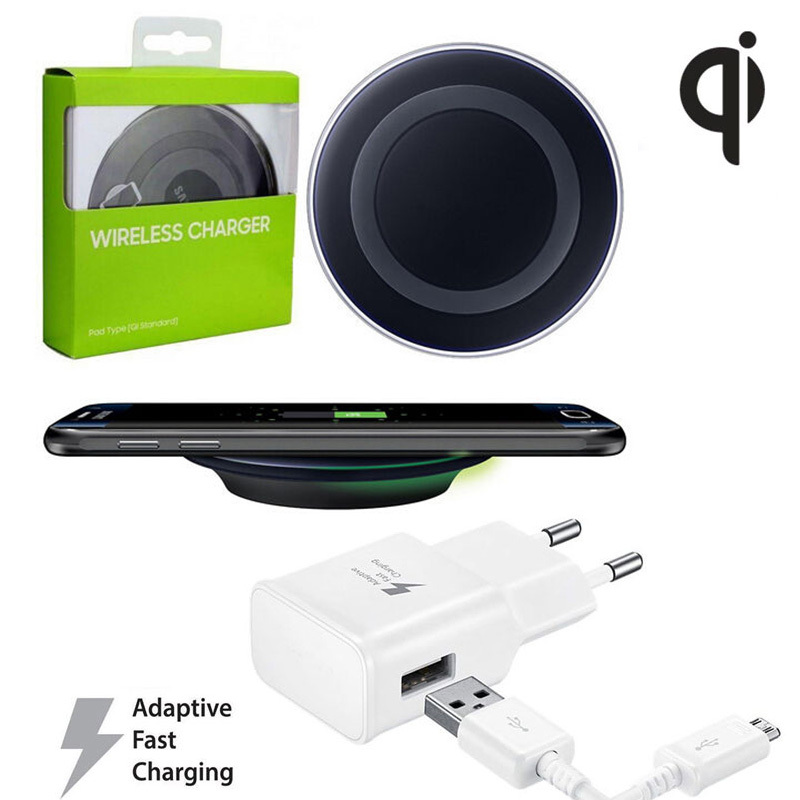 Qi Wireless Charger Compact Wireless Charging Pad + Travel AC Power Charger Adapter For SAMSUNG Galaxy S6 G9200 / S6 Edge G9250(China (Mainland))