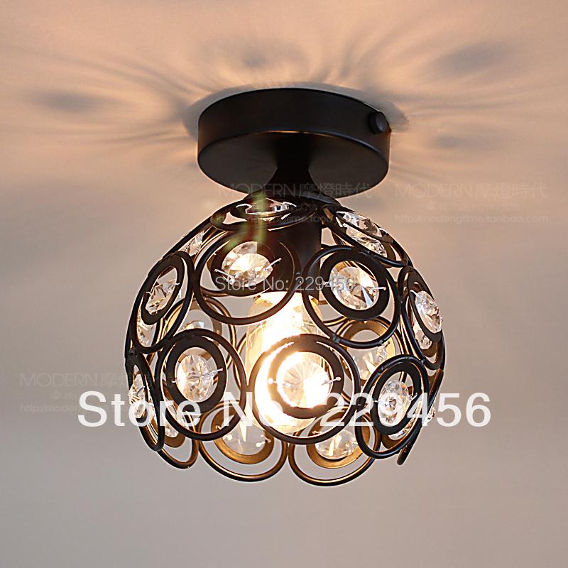 Modern Ceiling Light Black Wrought Iron K9 Crystal Kitchen Balcony Aisle Home Lighting E27 110-240V(China (Mainland))