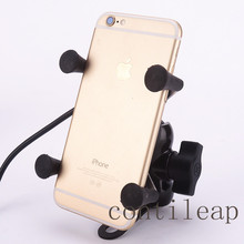 Universal 12v X-Grip Motorcycle Scooter Cell Phone Cradle Holder, 5V 2.1A USB port Car Charger for iPhone Samsung HTC SonySmart