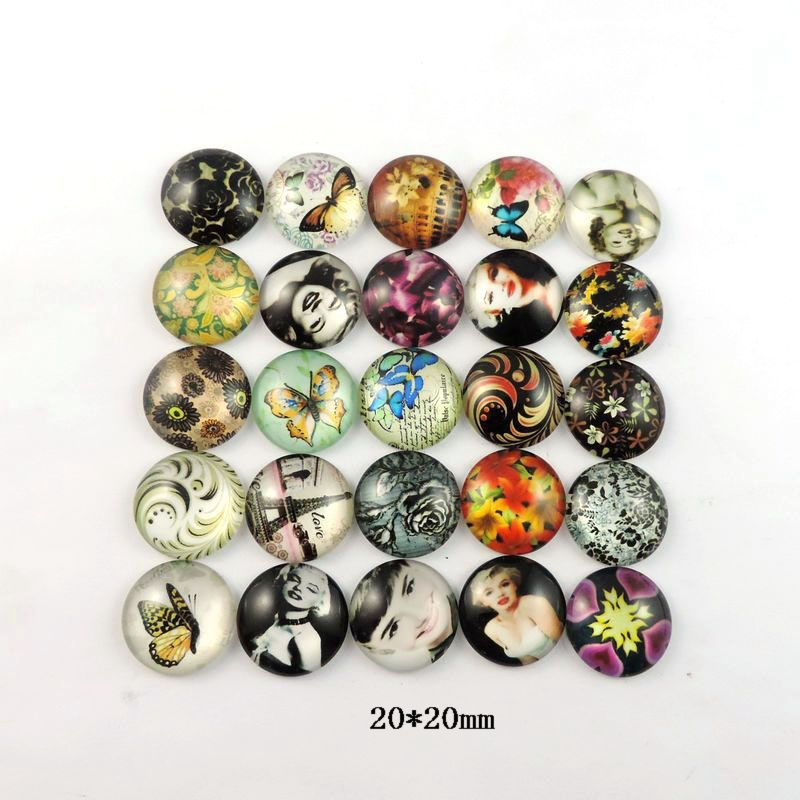 Wholesale 30pcs 2016 Round Glass Cameo Cabochon 20mm Accessories Flatback Findings Fit Jewelry Accessories Craft 38701(China (Mainland))