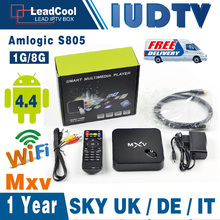 MXV Quad Core Android TV BOX S805 Android 4.4 KODI WIFI H.265 Media Player With One Year Iudtv Iptv Account 900 Channels