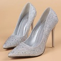 2016 spring and summer diamond pointed high heeled shoes shallow mouth fine with sexy shoes silver
