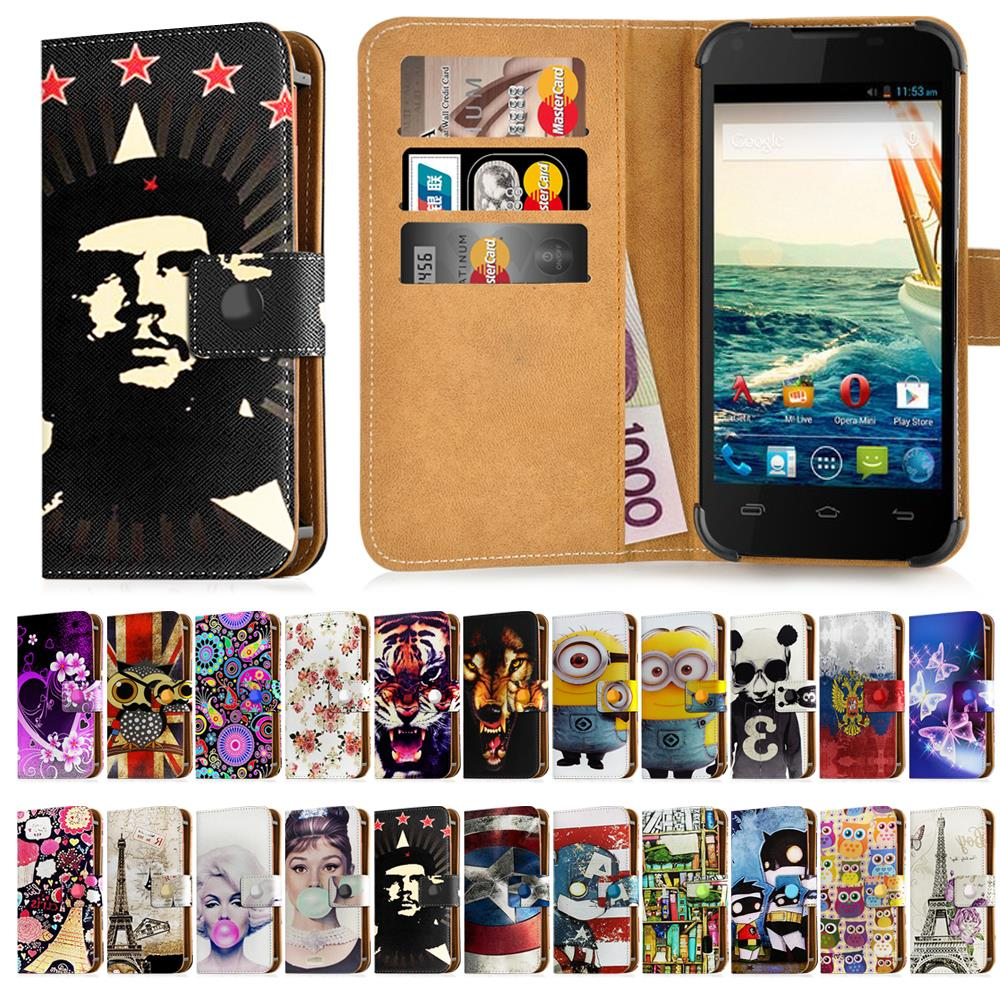 "For Micromax Canvas Fire A093 Case Universal Leather 4"" Print Stand Cover For Micromax A093 Case Cartoon Wallet Card Slot Bag(China (Mainland))"