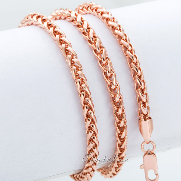 Wheat Spiga Chain 4MM Mens Womens Rose Gold Filled Necklace GF Chain Wholesale Necklace Personalized Jewelry
