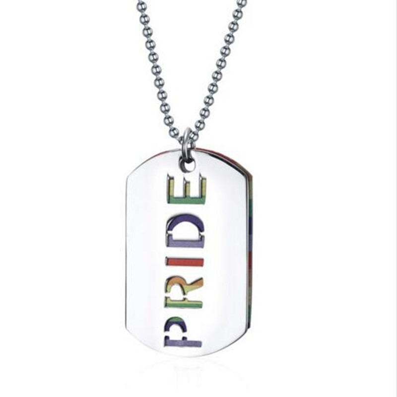 2016 Time-limited Sale Kolye Gay Pride Pendant Necklace Fashion Dog Tag Pendants Jewelry Stainless Steel Rainbow Free Shipping(China (Mainland))