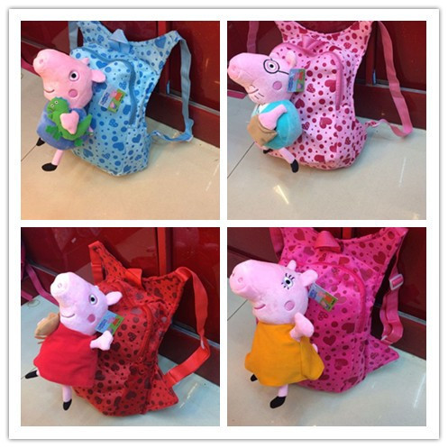 2015 new pegga pig design children school bags child backpack,cartoon toy bag kids gift mochila infantil(China (Mainland))