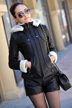2015 Autumn Winter Leather jacket women Hooded Thicken Warm PU Leather Coat Women Faux Leather Jacket Female High Quality(China (Mainland))