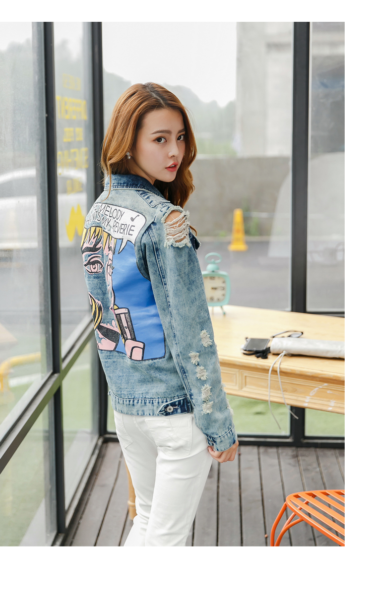 New arrival women's colored beauty print denim jacket Lady's casual loose coat Female fashion outerwear Free shipping