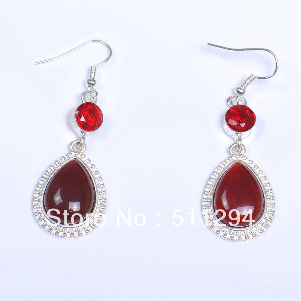 Vintage Handmade Statement Botswana Agate Garnet Earrings(China (Mainland))