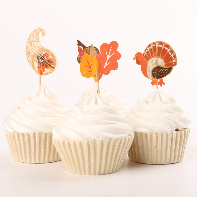 Thanksgiving Day Party Supplies 24pcs Cartoon Turkey Cupcake Toppers Pick Party Decorations(China (Mainland))