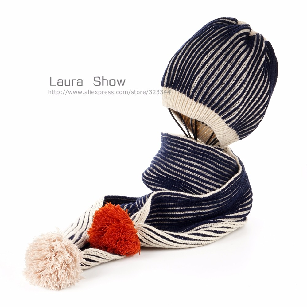 2017 New Baby Kid Girl Boy Ball Hat Winter Warm Knitted Woolen Knitted Beanies Cap WIth Scarf