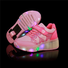 New 2016 Child Wheely's Jazzy LED Light Heelys Roller Skate Shoes For Children Kids Junior Girls Boys Sneakers With Wheels(China (Mainland))