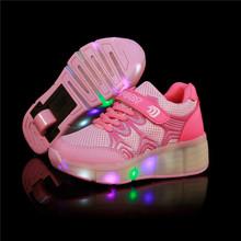 New 2016 Child Wheely's Jazzy LED Light Heelys Roller Skate Shoes For Children Kids Junior Girls Boys Sneakers With Wheels