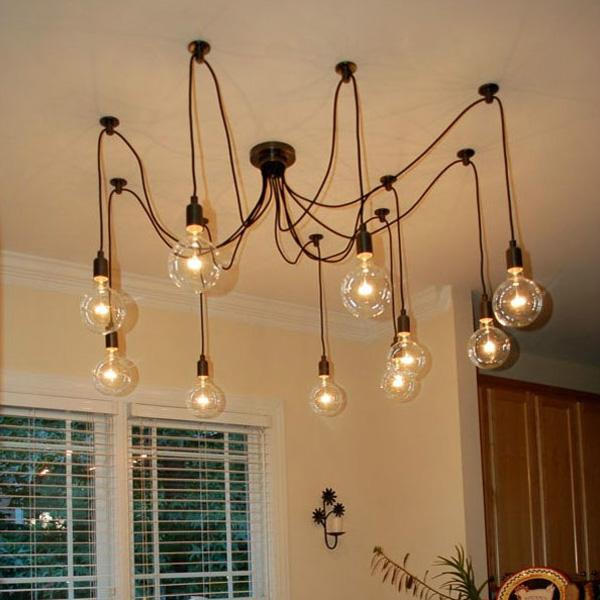 Mordern Nordic Retro Edison Bulb Light Chandelier Vintage Loft Antique Adjustable DIY E27 Art Spider Ceiling Lamp Fixture Light<br><br>Aliexpress