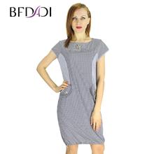 BFDADI 2016 XL-5XL Большой размер плед платье женское с о-образным вырезом с коротким рукавом платья широкие с карманами летнее платье 9678(China (Mainland))