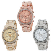 Vocisar Faux Chronograph Quartz Plated Classic Round Ladies Women Crystals Watch  2015 Hot Sale