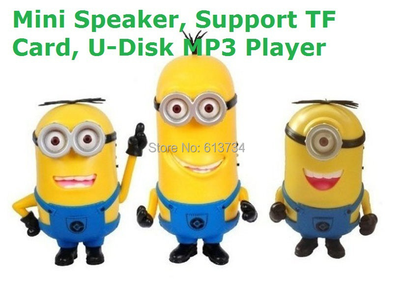 Faster Free shipping DESPICABLE ME 2 Mini Loud Speaker MP3 4 Player FM USB Disk Computer Mini Yellow Man Minions Speaker(China (Mainland))