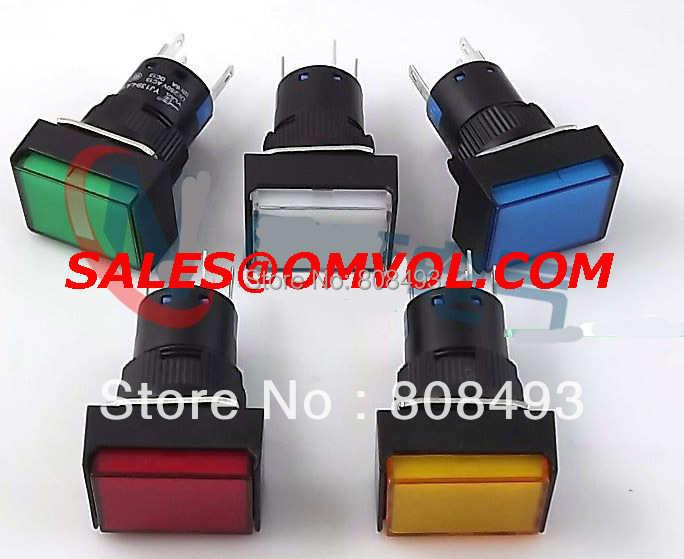 16mm Rectangle Momentary push button switch lamp 5pins 12V(China (Mainland))