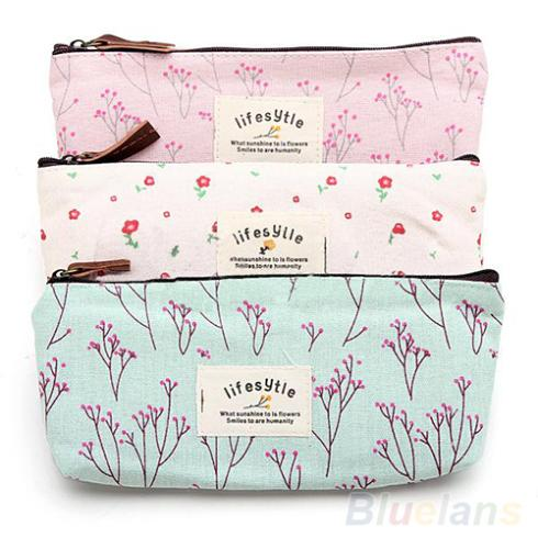 Hot Sale New Flower Floral Pencil Pen Canvas Case Cosmetic Makeup Tool Bag Storage Pouch Purse 1JWF(China (Mainland))